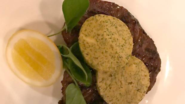 Scotch fillet served with truffle butter.