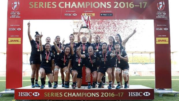 The New Zealand women's sevens team celebrate winning the HSBC World Sevens Women's Series title on Monday.