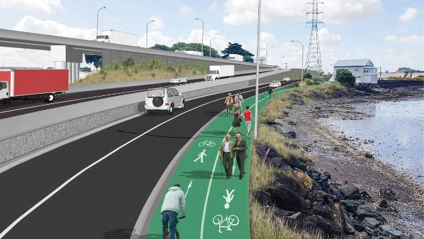 A computer image of a shared path along Orpheus Drive near Aotea Sea Scouts building, that would be built as part of the ...