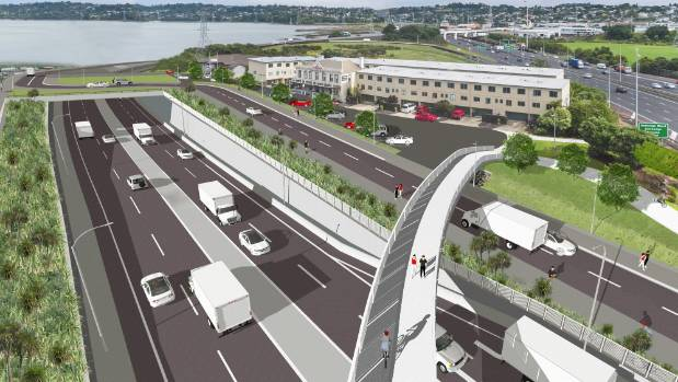 A computer generated image of how the East West Link would look in Onehunga.