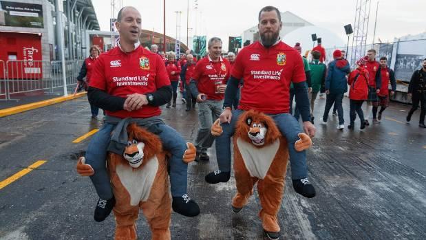 British & Irish Lions fans at Auckland's Queens Wharf fanzone.