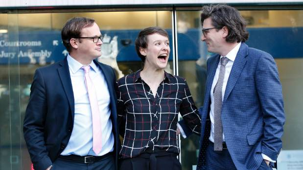 Sarah Thomson arriving at the High Court on Monday with her legal team Davey Salmon, left, and Michael Heard.