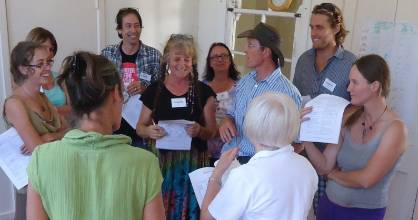 John King, centre, talks about differences in communication at one of his sustainable agriculture courses.