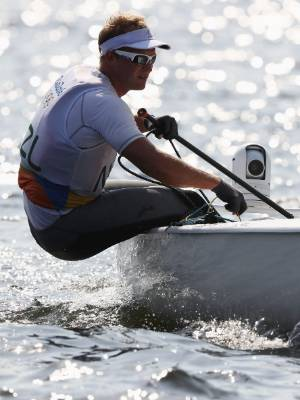 Josh Junior competing in the Finn class at the Rio Olympics. He finished seventh.