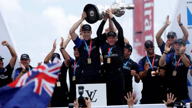 Team NZ celebrate after winning the America's Cup