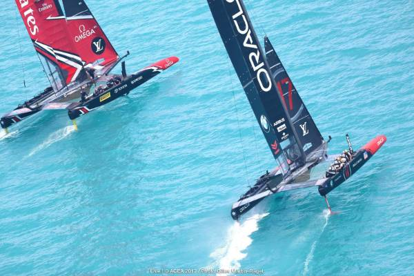 Team NZ and Team USA duel in the start box in race nine of the America's Cup final.