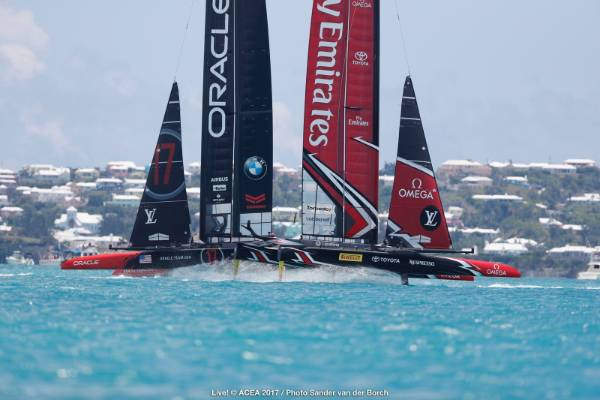Team USA and Team NZ duel in the start box in race nine of the America's Cup final.