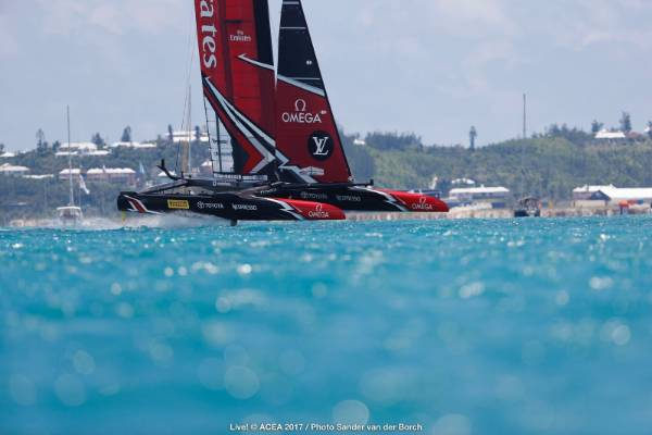 Team NZ in action early in race nine of the America's Cup final.