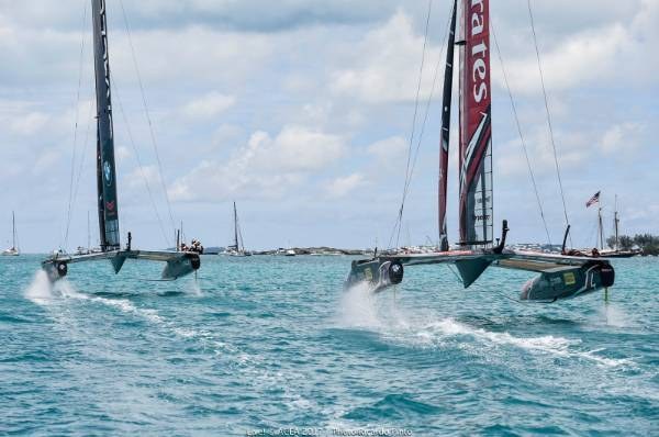 Team USA led Team NZ to the first mark in race nine of the America's Cup final.