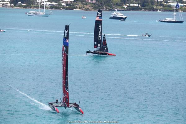 Team NZ push ahead of Team USA midway through race nine of the America's Cup final.