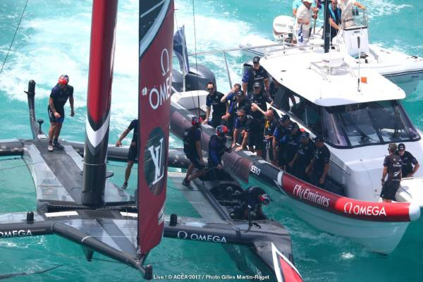 The Team NZ support boat brings the team together to celebrate the America's Cup win.