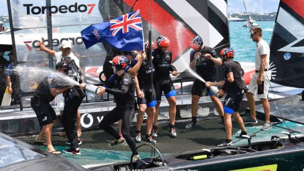 The celebrations get under way on board of Team New Zealand.
