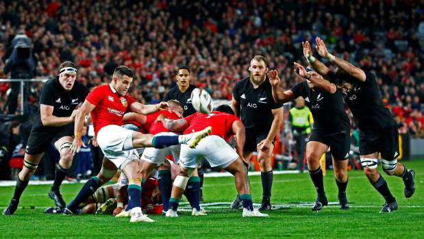 Conor Murray under All Blacks pressure during the first test.