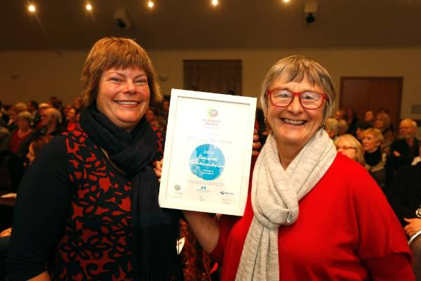 Kathryn Brownlie, left and Gillian Bishop of Battle for the Banded Rail at the Trustpower Nelson Tasman Community Awards.