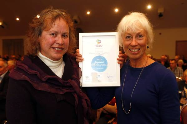 Debbie Win, left and Cathie Hughes of the Dovedale Country Affair Committee at the Trustpower Nelson Tasman Community Awards.