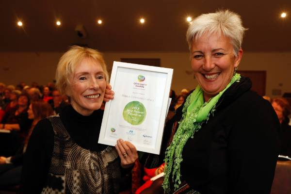 Gaye Jameson, left and Lynley Worsley of the Mapua Community Library at the Trustpower Nelson Tasman Community Awards.