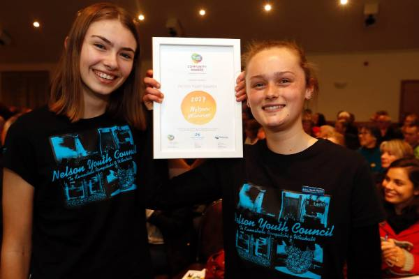 Emma Edwards, left and Alex Hunter of the Nelson Youth Council at the Trustpower Nelson Tasman Community Awards.