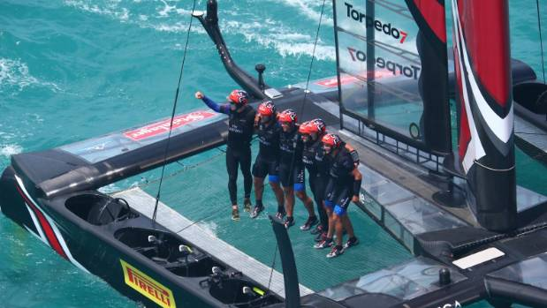 Team New Zealand after winning back the America's Cup in Bermuda.