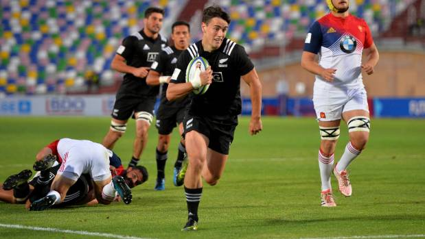Will Jordan heads for a try during New Zealand's semifinal win over France at the World Rugby Under-20 Championship.