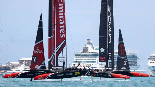 Team NZ and Team USA race on the Great Sound in Bermuda for the America's Cup.