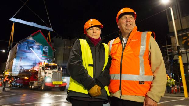 Dr Anna Crighton of the Christchurch Heritage Trust and Shand's former owner, Antony Gough, watched the building being ...