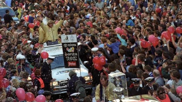 Sir Peter Blake heads an America's Cup parade in Wellington in 1995.