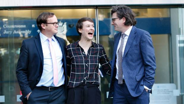Sarah Thomson arrived at court on Monday with lawyers Davey Salmon, left, and Michael Heard, when the case against the ...