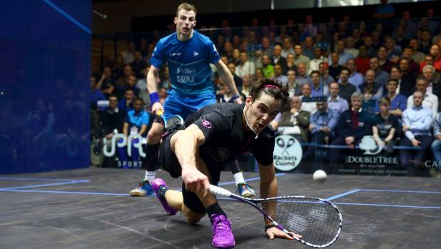 Paul Coll plays a backhand during his semi-final against England's Nick Matthew at March's Canary Wharf Classic in London.