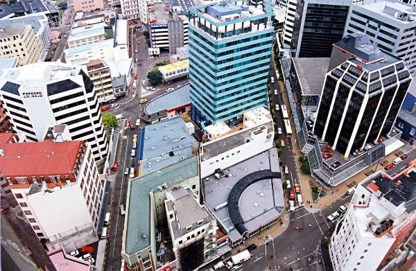 Wellington from Willis Street, overlooking Manners Street (right) and Bond Street (left)