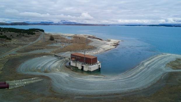 An aerial view showing Tekapo B power Station at Lake Pukaki. The lake level is currently at 524 metres above sea level, ...