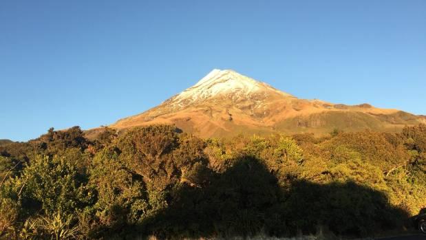 The sun was shining on Mt Taranaki on Thursday morning.