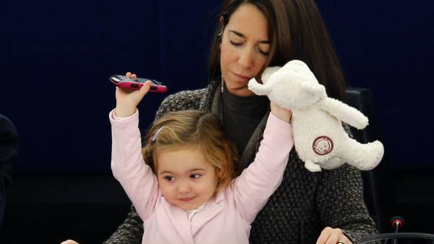 Licia Ronzulli has been bringing her daughter to Strausbourg parliament since 2010.