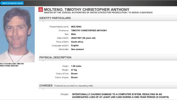 Interpol's most wanted list, featuring Dunedin man Tinmothy Molteno.