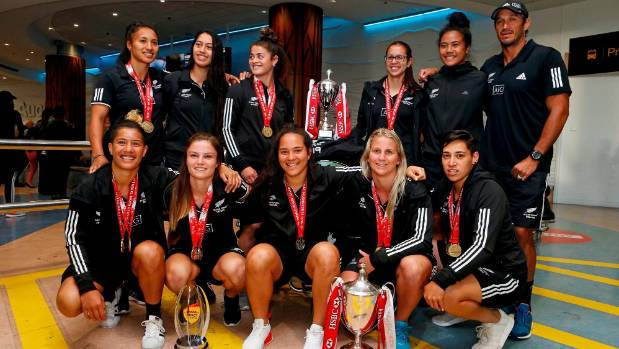 The Black Ferns arrive back at Auckland International Airport as World Sevens Series champions.