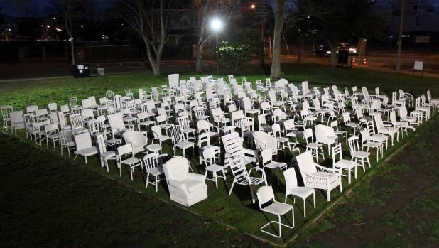 A night-time view of the 185 chairs before they moved from Oxford Tce to Cashel St in 2012.