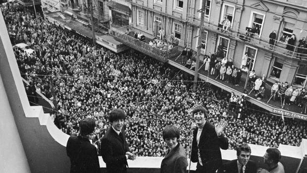 Those were the days: The Beatles on the balcony of the St George Hotel, on the corner of Boulcott and Willis streets in ...