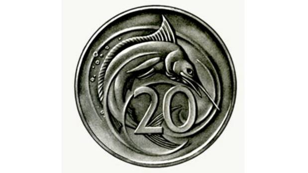 Eileen Mayo's striking swordfish design for New Zealand's first twenty cent piece was rejected.