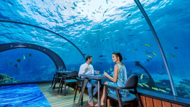 The Hurawalhi Island Resort's underwater restaurant. You'll need deep pockets to eat here.