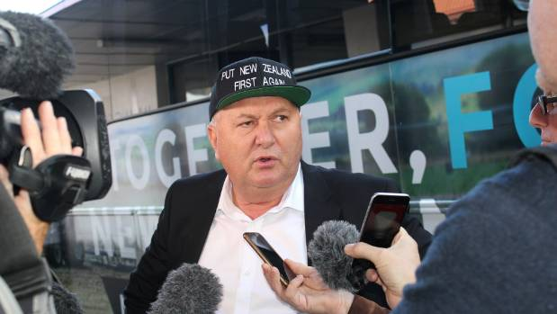 "Shane Jones in his ""Put New Zealand First Again"" hat."