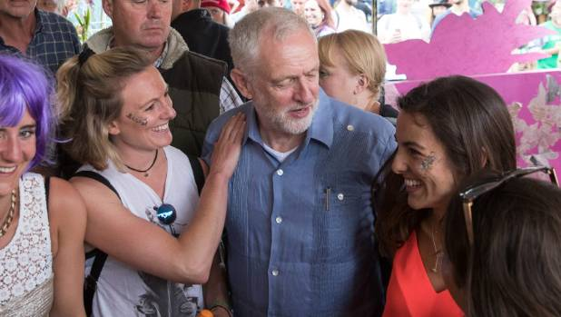 Labour Party leader Jeremy Corbyn feels the love at Glastonbury.