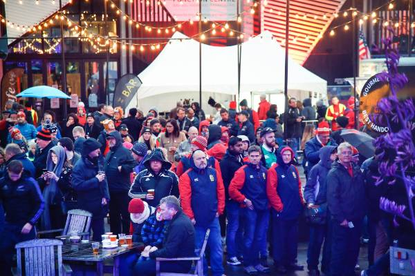 All Blacks and British and Irish Lions rugby test supporters at the Fanzone, Odlin's Plaza, Wellington.