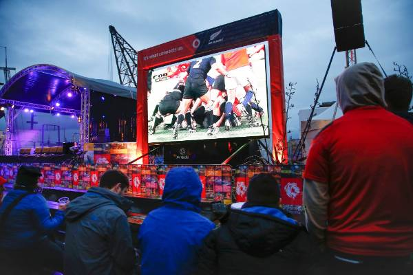The fanzone in Wellington, before the match.