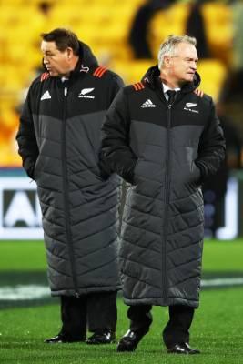 All Blacks head coach Steve Hansen and selector Grant Fox look snug ahead of the match.
