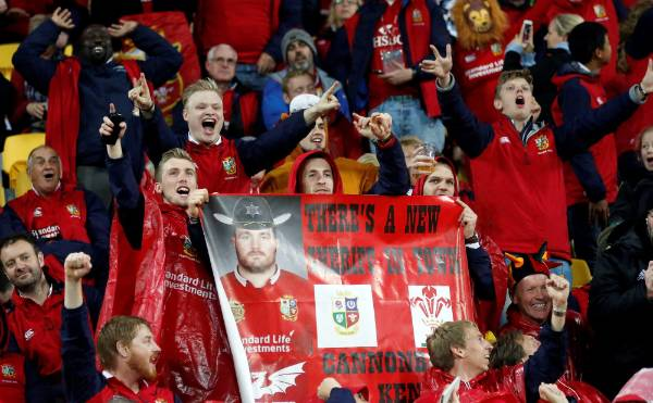 Fans get excited before the match.