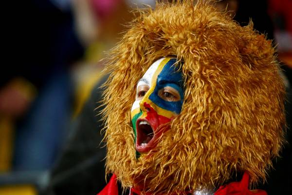 A Lions fan cheers from the crowd.