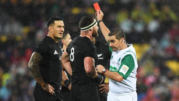 Sonny Bill Williams is red carded by the referee in the second test against the Lions.