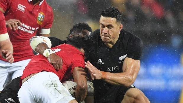The moment of impact as Sonny Bill Williams' shoulder slams into Lions winger Anthony Watson.