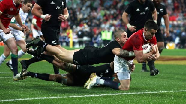 Conor Murray goes over for a pivotal score in the 24-21 victory in Wellington.