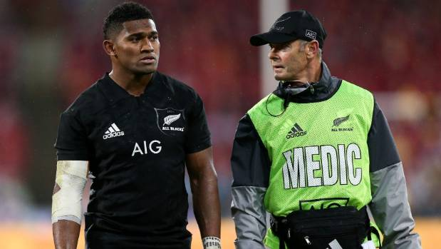 Waisake Naholo leaves the field for a concussion test
