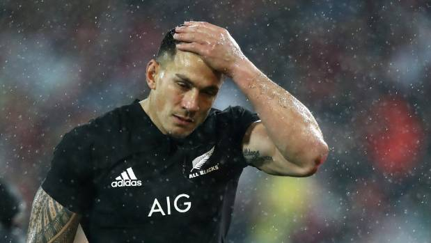 Sonny Bill Williams walks off the pitch after being red carded during the match against the British & Irish Lions at ...